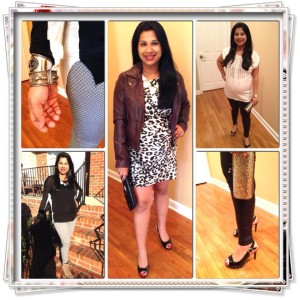 "So.. Black and White are ""in"" this season! I know, shocker!! Created three looks for you today.  The first look features my ""Penguin"" top. Paired with my printed black and white leggings. Booties and bold silver accessories to give it a nice play on the monochromatic look. The second look is what I call the ""brunch date"" look. Animal print silk dress(you know how much I love animal print) paired with an oxblood leather jacket to keep warm. Peep toes to keep it fresh and ""Spring-y"".  The third look is a ""girls night out"" look. White silk blouse with metal details paired with faux leather leggings. Heavily accessorized with funky gold and silver bangles and a blingy clutch. Peep toes again to show off your fresh pedicure!"